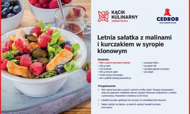 Letnia sałatka z malinami i kurczakiem w syropie klonowym