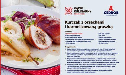 Kurczak z orzechami i karmelizowaną gruszką