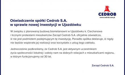 Cedrob S.A. wydał oświadczenie ws. nowej inwestycji w Ujazdówku